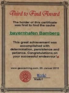 Third to Find Urkunde bayernhafen Bamberg